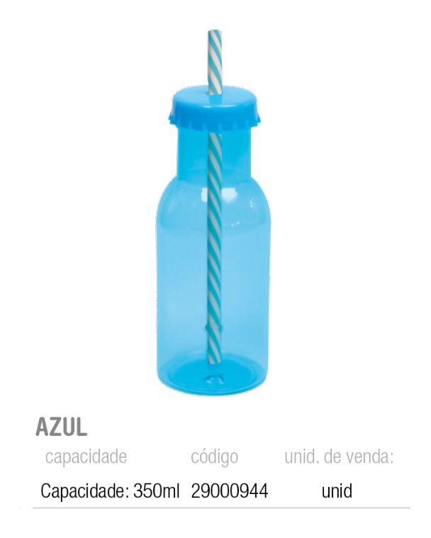 GARRAFINHA DE PLASTICO C/CANUDO AZUL 6,5x20 PCT C/1 UNIDADE