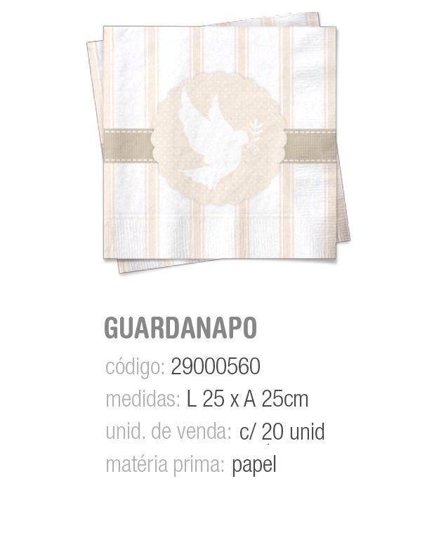 GUARDANAPO BATIZADO/1a COMUNHAO 25x25 PCT C/20 UNIDADES