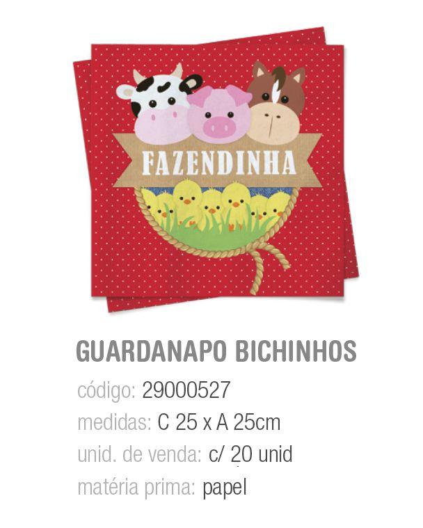 GUARDANAPO FAZENDINHA 25x25 PCT C/20 UNIDADES