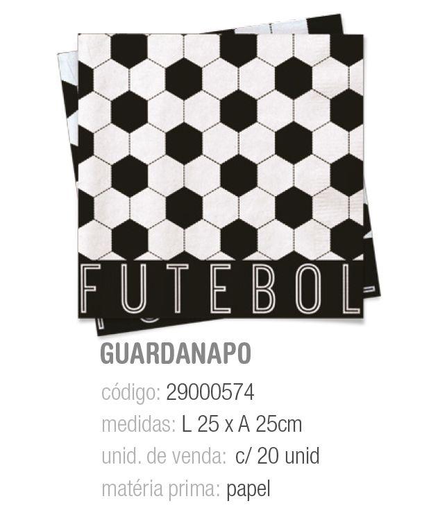 GUARDANAPO FUTEBOL 25x25 PCT C/20 UNIDADES