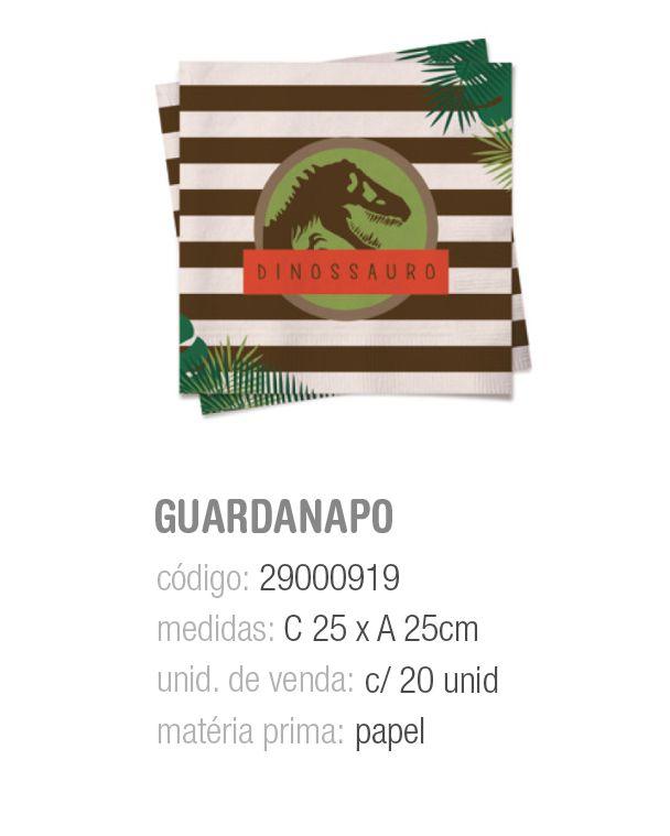 GUARDANAPO MUNDO DOS DINOSSAUROS 25x25 PCT C/20 UNIDADES