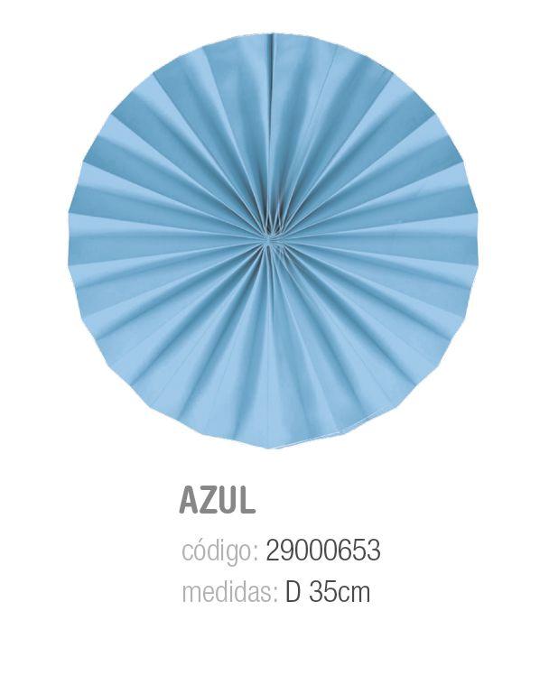 LEQUE REDONDO DECORATIVO AZUL 35CM PCT C/2 UNIDADES