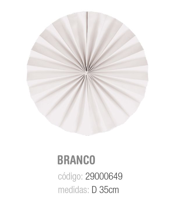 LEQUE REDONDO DECORATIVO BRANCO 35CM PCT C/2 UNIDADES