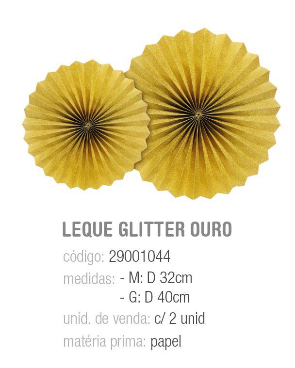 LEQUE REDONDO DECORATIVO COMPOSE GLITTER OURO M/G PCT C/2 UNIDADES