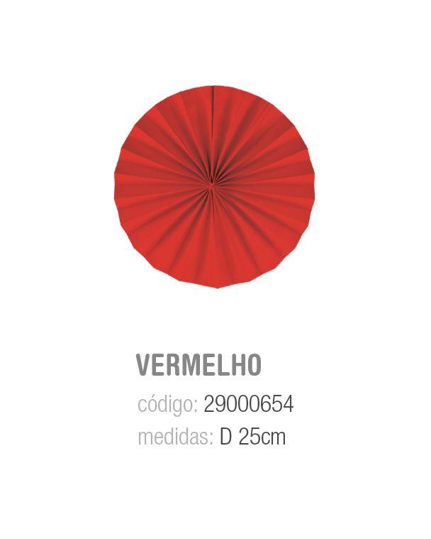 LEQUE REDONDO DECORATIVO VERMELHO 25CM PCT C/2 UNIDADES