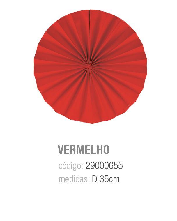 LEQUE REDONDO DECORATIVO VERMELHO 35CM PCT C/2 UNIDADES