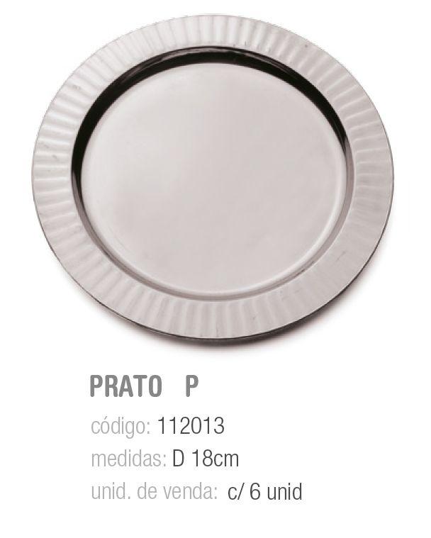 LINHA PREMIUM PRATO PRATA LISO 18CM PCT C/6 UNIDADES