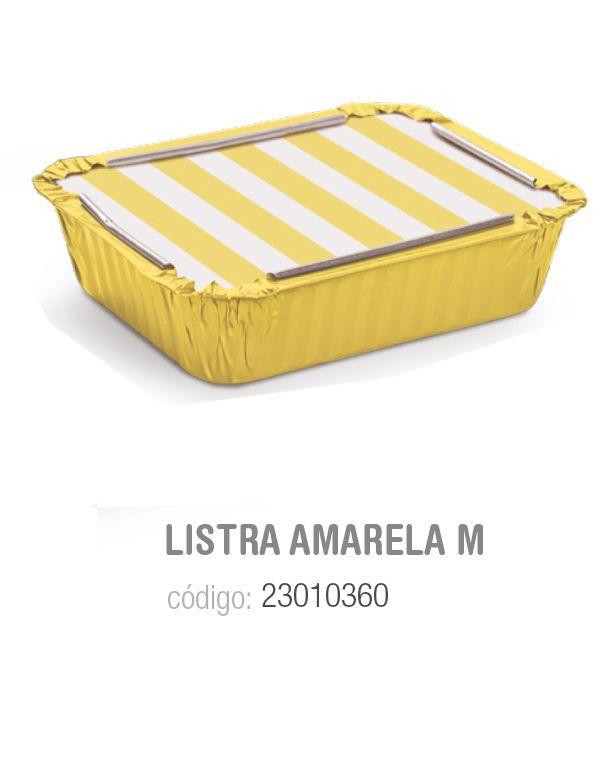 MARMITINHA LISTRAS AMARELO M 8,5x6,5x2,5 PCT C/12 UNIDADES