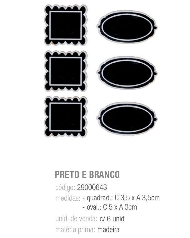 MINI LOUSAS ADESIVAS PRETO C/BORDA DEC BRANCO PCT C/6 UNIDADES