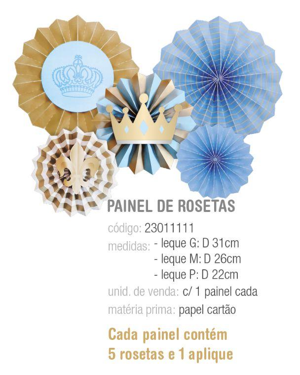 PAINEL DE ROSETAS DECORATIVAS REINADO DO PRINCIPE PCT C/5 UNIDADES