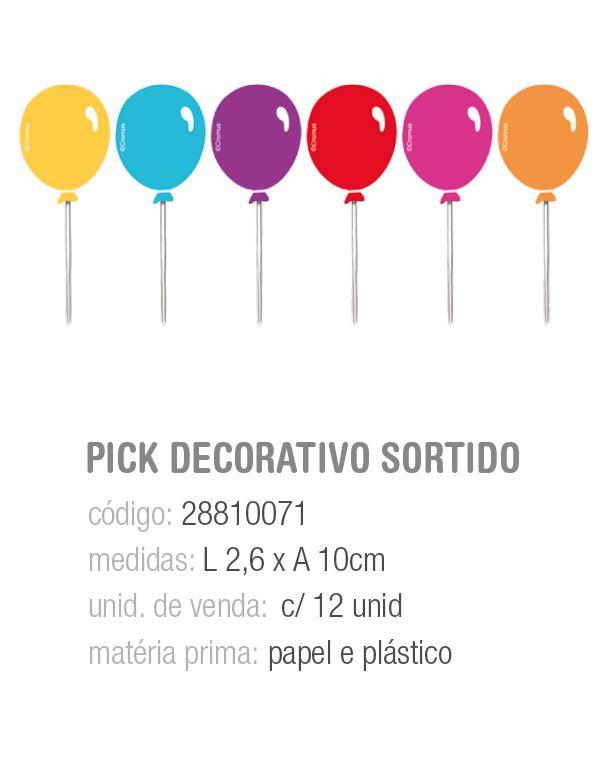 PICK DECORATIVO FESTA DAS CORES SORTIDO PCT C/12 UNIDADES