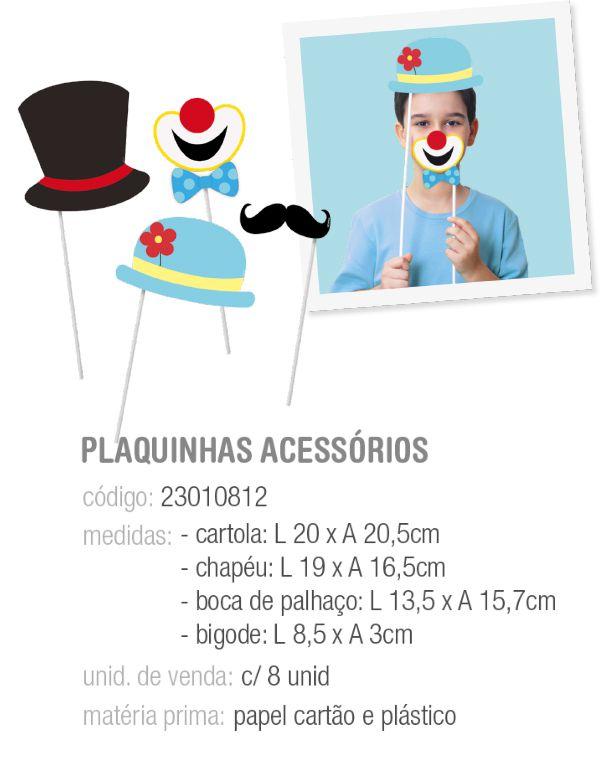 PLAQUINHAS ACESSORIOS CIRCUS PCT C/8 UNIDADES