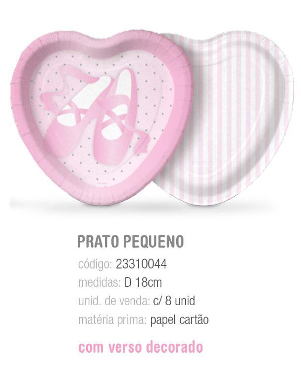 PRATO CORACAO BALLET 18CM PCT C/8 UNIDADES