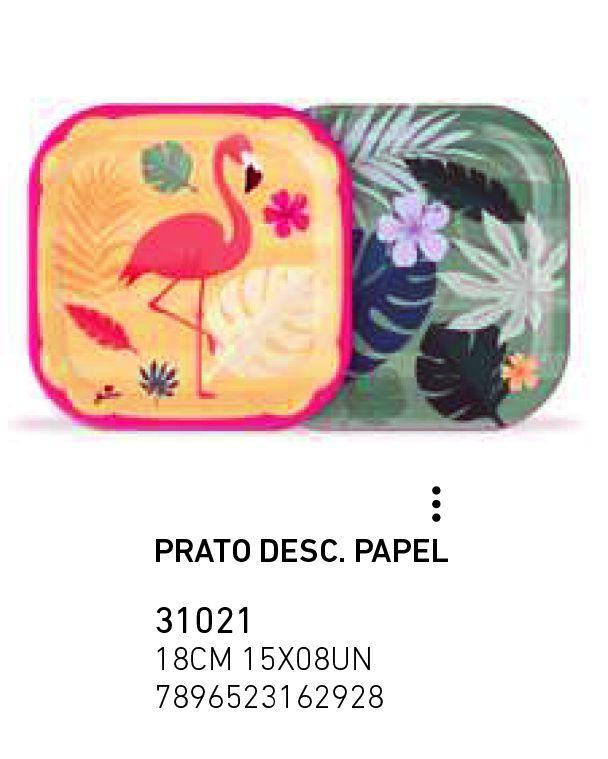PRATO DESC. PAPEL FLAMINGO PCT C/8 UNIDADES