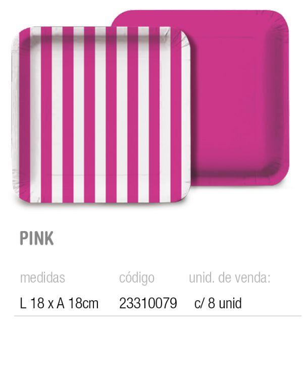 PRATO QUADRADO LISTRAS PINK 18x18 PCT C/8 UNIDADES
