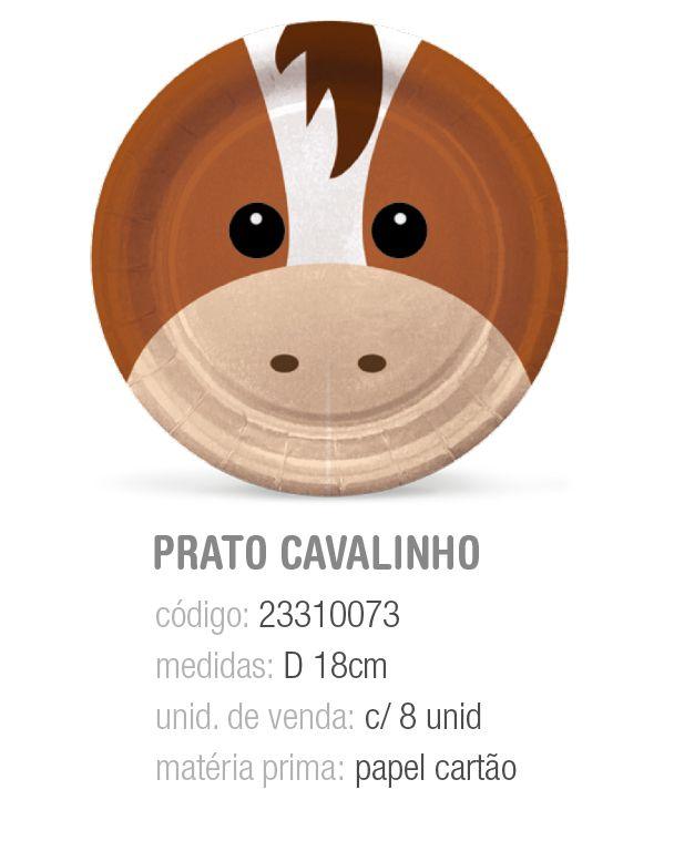 PRATO REDONDO FAZENDINHA CAVALINHO 18CM PCT C/8 UNIDADES