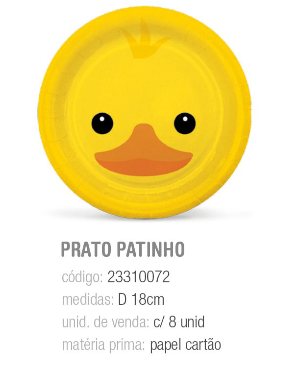 PRATO REDONDO FAZENDINHA PATINHO 18CM PCT C/8 UNIDADES