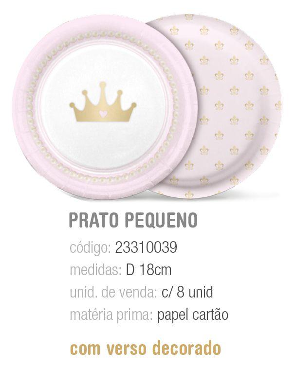 PRATO REDONDO REINADO DA PRINCESA 18CM PCT C/8 UNIDADES