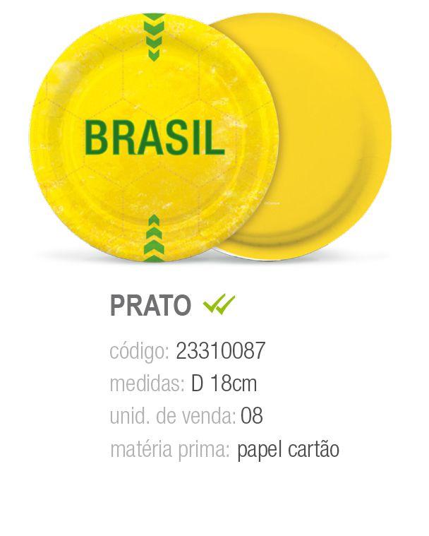 PRATO REDONDO VAI BRASIL 18CM PCT C/8 UNIDADES