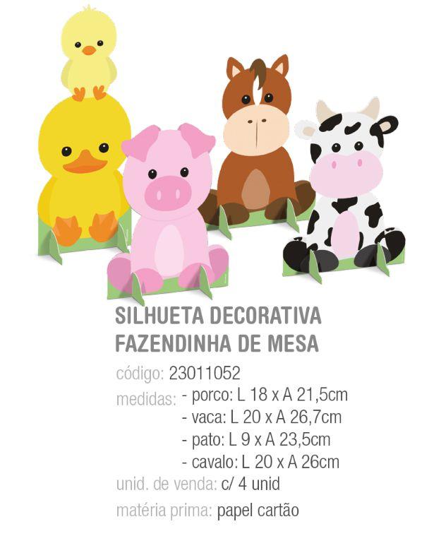 SILHUETA DECORATIVA FAZENDINHA 26,7x20 PCT C/4 UNIDADES