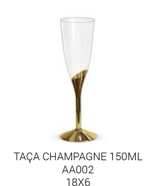 TACA CHAMPAGNE BASE DOURADA PCT C/6 UNIDADES