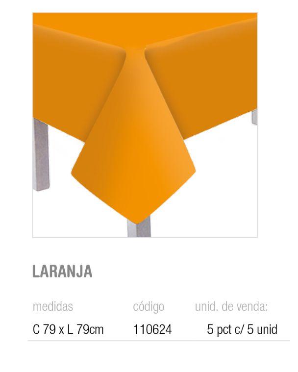 TOALHA DE MESA TEXT LARANJA 79x79 PCT C/5 UNIDADES