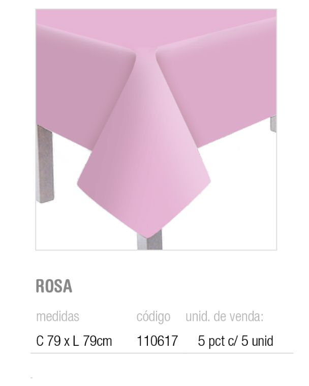 TOALHA DE MESA TEXT ROSA 79x79 PCT C/5 UNIDADES