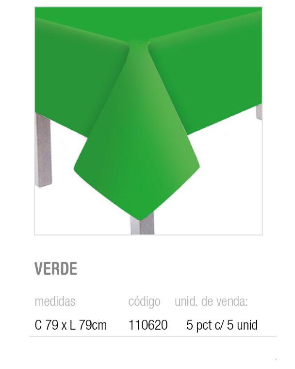 TOALHA DE MESA TEXT VERDE 79x79 PCT C/5 UNIDADES