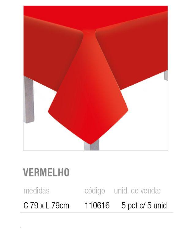 TOALHA DE MESA TEXT VERMELHO 79x79 PCT C/5 UNIDADES