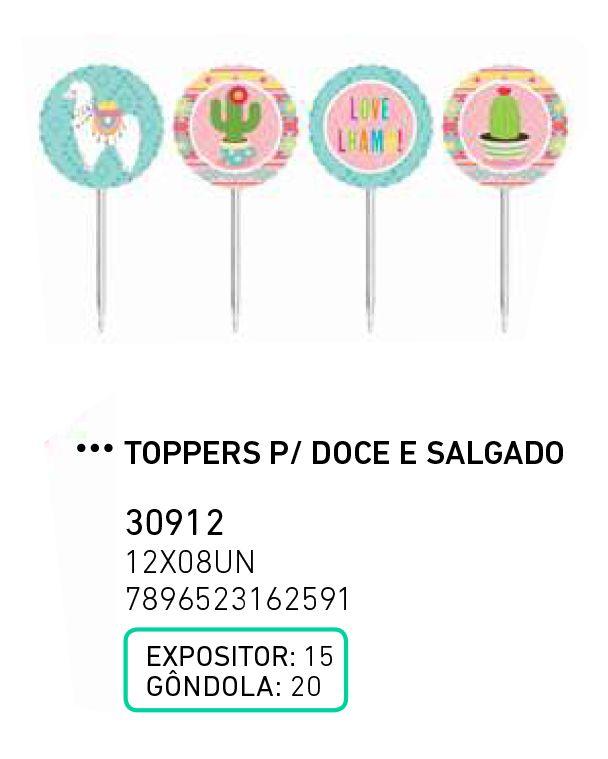 TOPPERS P/ DOCE E SALGADO LHAMA PCT C/8 UNIDADES