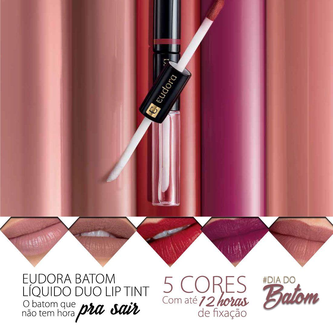 Batom Líquido Duo Lip Tint Eudora - 12 horas de fixação  - Shine Shop Perfumes e Cosméticos