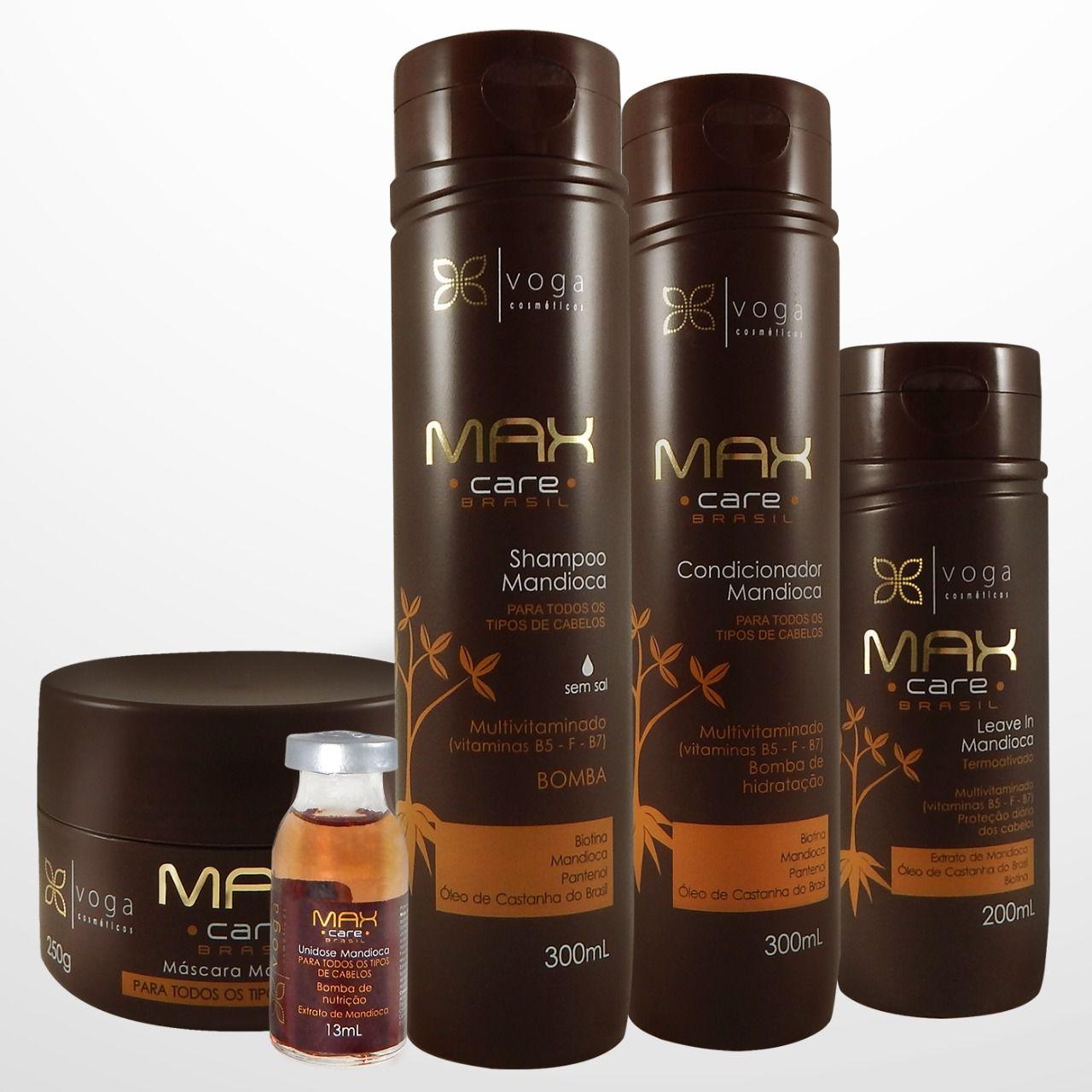 Kit Completo Bomba de Crescimento Max Care Brasil Voga Cosméticos (5 produtos)