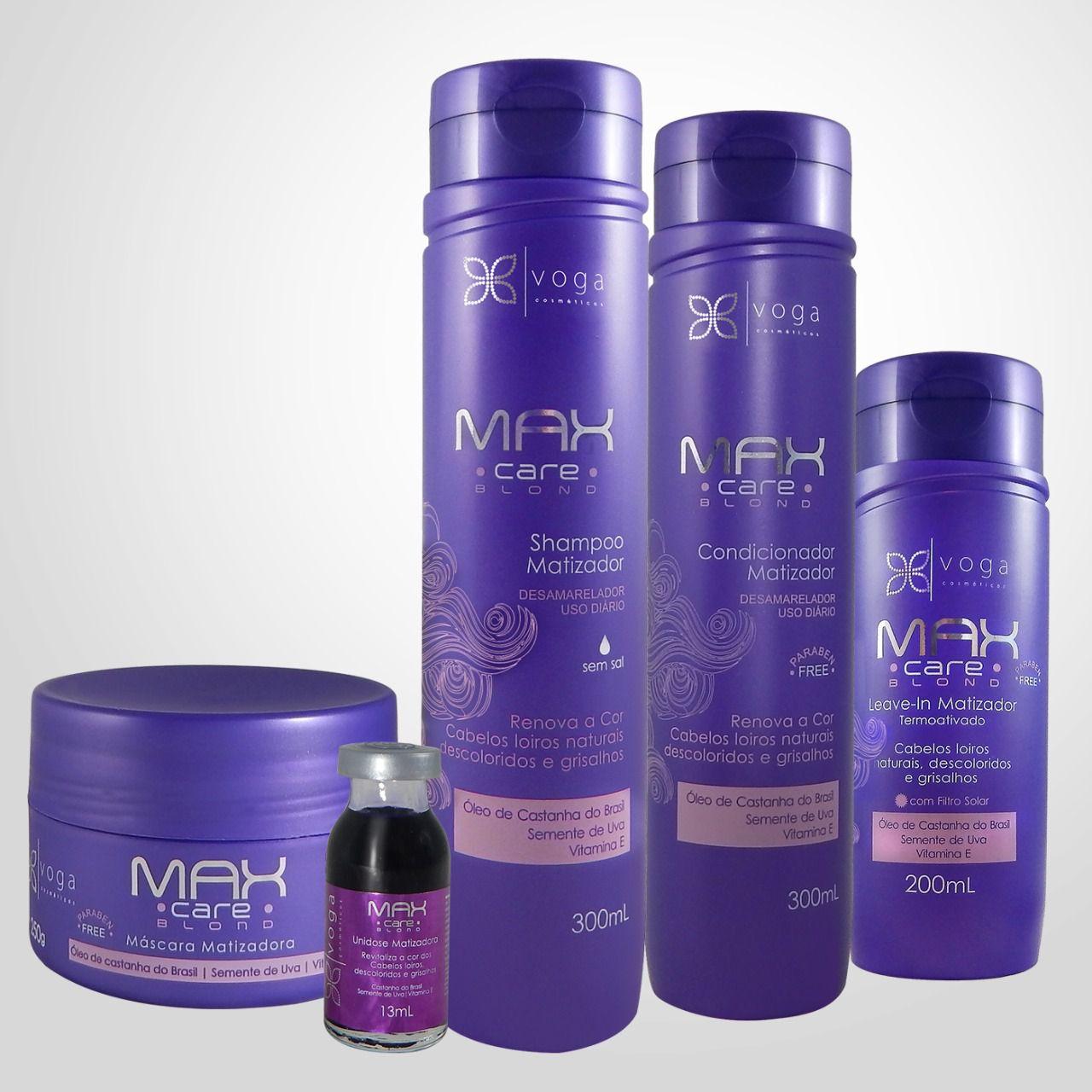 Kit Completo Matização Max Care Blond Voga Cosméticos (5 produtos)