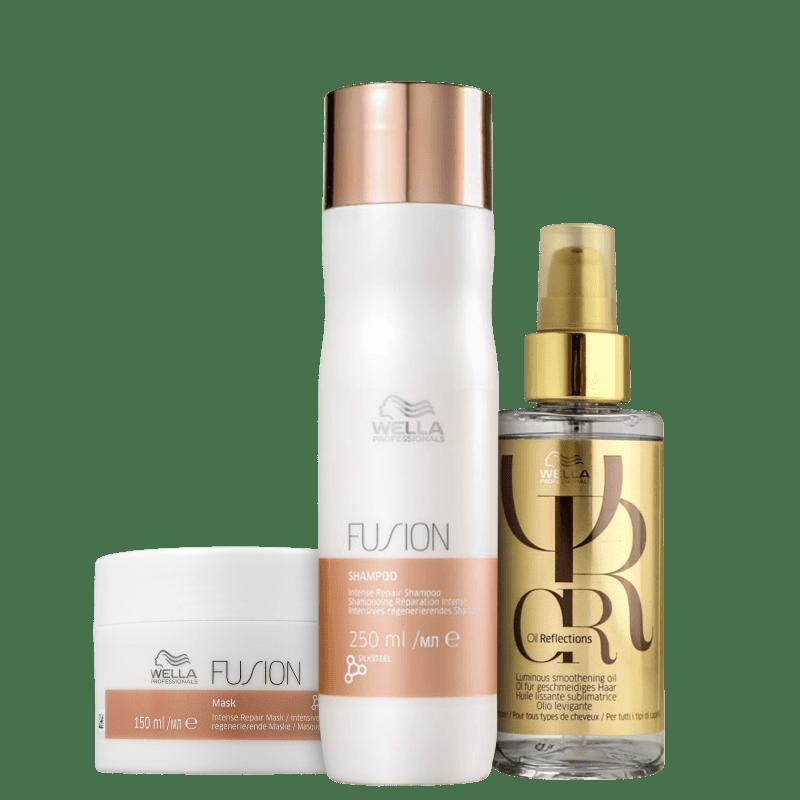 Kit Fusion + Oil Reflexion Wella Professionals (3 Produtos)