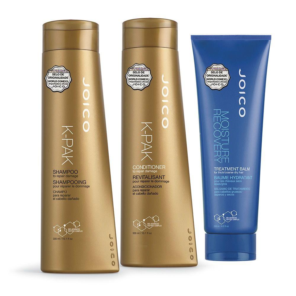 Kit Joico: Shampoo + Condicionador K-Pak To Repair Damage 300 ml + Máscara Moisture Recovery 250ml