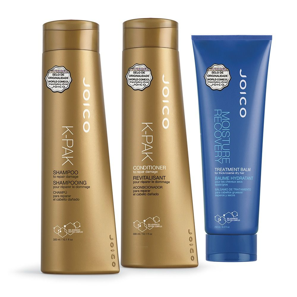 Kit Joico: Shampoo + Condicionador K-Pak To Repair Damage 300 ml + Máscara Moisture Recovery 250ml