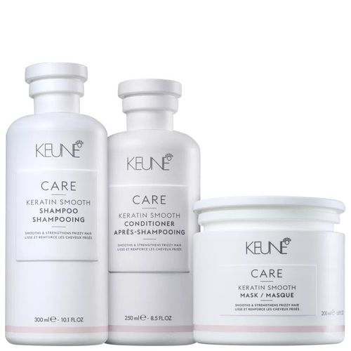 Kit Shampoo + Condicionador +Máscara Keratin Smooth Keune - Reconstrução Profunda