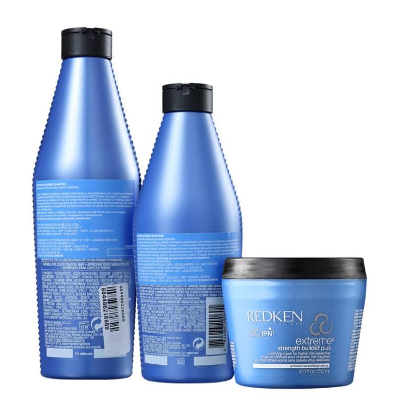 Kit Redken Extreme Shampoo 300ml + Condicionador 250ml + Extreme Builder Strengthening  250g  - Shine Shop Perfumes e Cosméticos