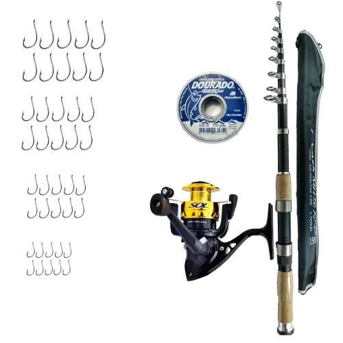 Kit De Pesca Vara 350 Molinete Marine Sports Linha Anzol