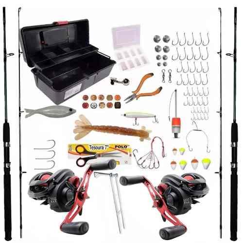 Kit De Pesca Completo 2 Vara P/ 30kg 2 Carretilha Com Itens
