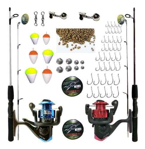 Kit Pesca 2 Varas 1,50 2 Molinetes 4000 3 Rol E Acessórios