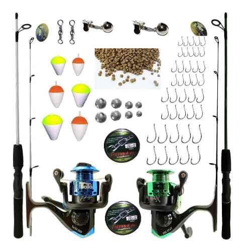 Kit Pesca 2 Varas 1,50 2 Molinetes 3000 3 Rol E Acessórios