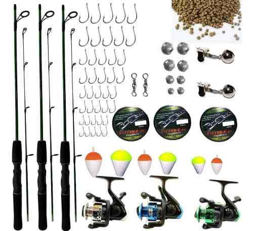 Kit De Pesca Completo 6kg 3 Vara 3 Molinete 4000 3 Rol Itens