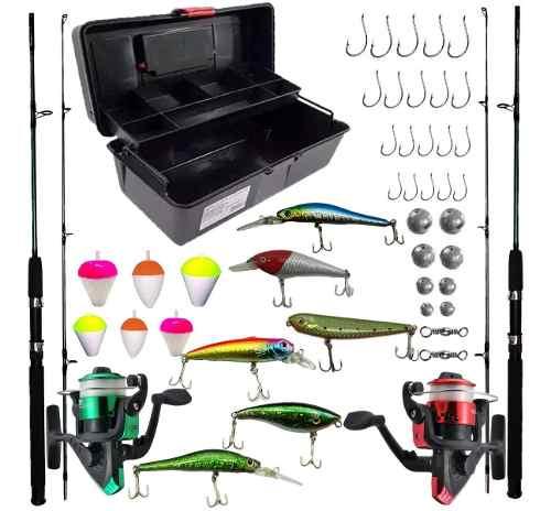 Kit De Pesca Completo Predador 2 Vara 1,80 2 Molinete Iscas Artificiais E Itens