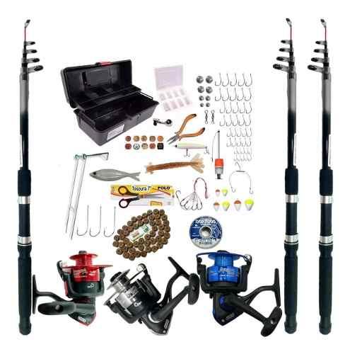 Kit De Pesca 3 Vara 2,10 3 Molinetes 3000 Completo Com Itens