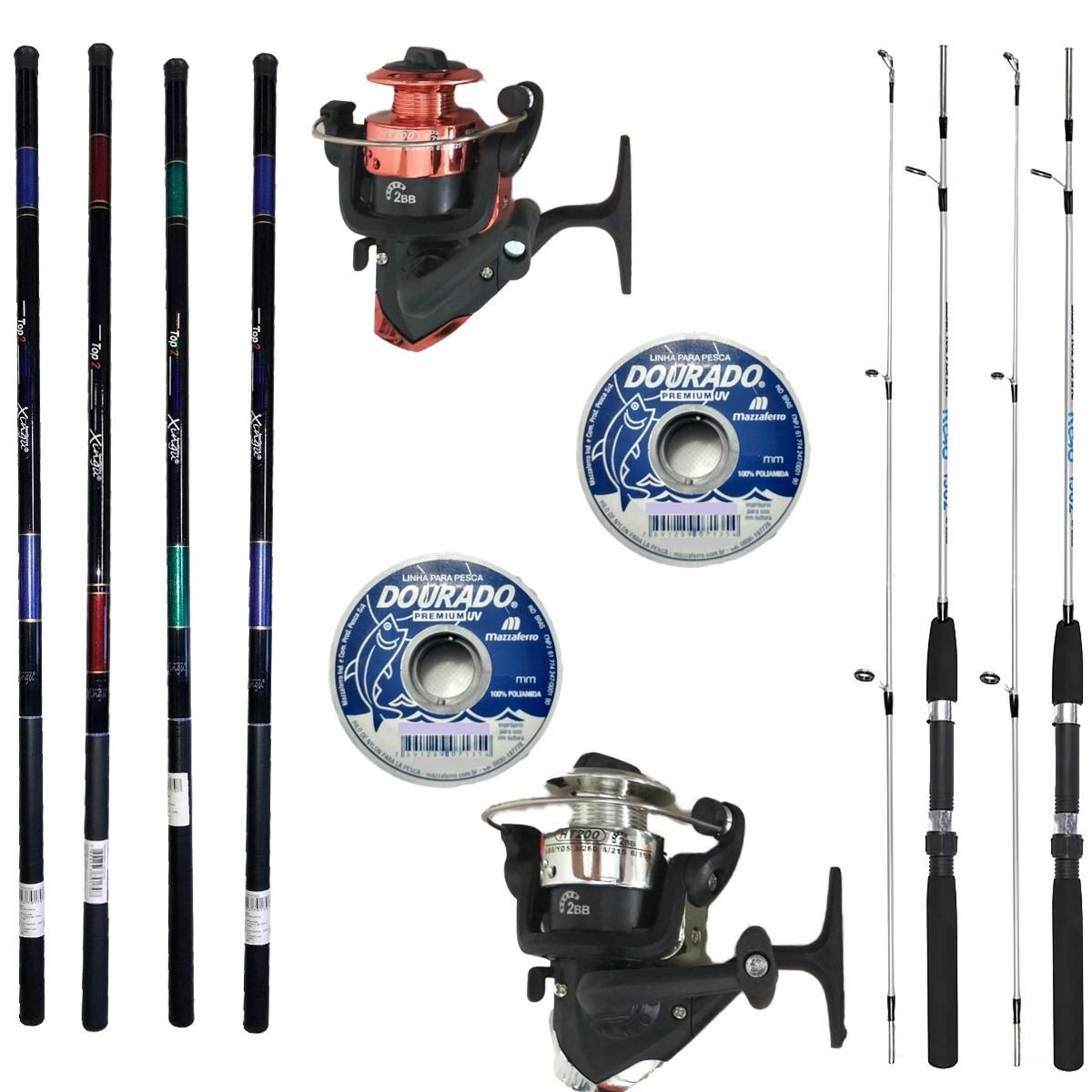 2 Vara De Pesca Completa 2 Molinete 4 Varas Telescopicas