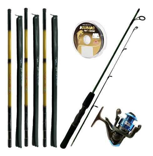 Kit De Pesca 1 Vara 1 Molinete 3 Telescopica 3,00m E Itens