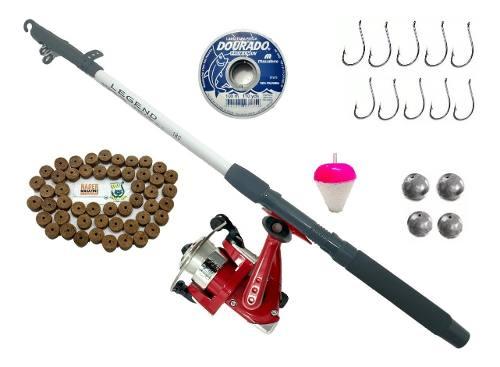 Kit De Pesca Completo Vara 1,70 Molinete Linha Isca Pronto