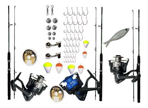 Kit De Pesca Completo 20kg 3 Vara 1,70m 3 Molinete 3000 Item