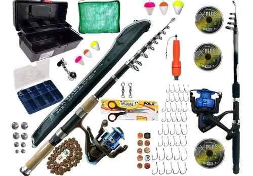 Kit Pesca Completo 1 Vara 3,00 1 De 2,10 2 Molinetes E Itens